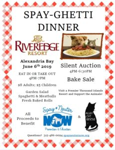 7th Annual Spay-Ghetti Dinner! June 6th 2019 – Spay-Neuter-Now
